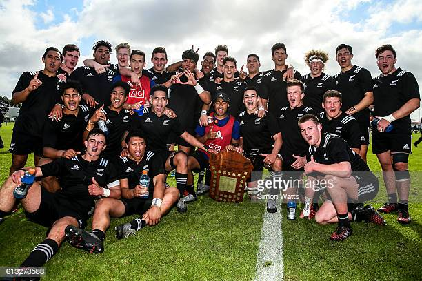 New Zealand Scecondary School players pose for a team photo with the Trans Tasman Shield during the match between Australia Schools and New Zealand...