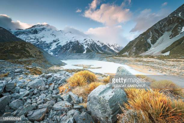 new zealand scenic mountain landscape at aoraki mount cook at summer with nature landscape background in south island new zealand - ニュージーランド南島 ストックフォトと画像