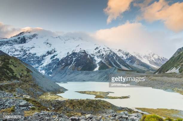 new zealand scenic mountain landscape at mount cook at summer with nature landscape background in south island new zealand - geographical locations stock pictures, royalty-free photos & images