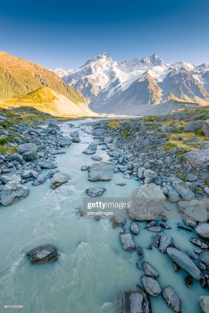 New Zealand scenic mountain landscape shot at Mount Cook : Stock Photo