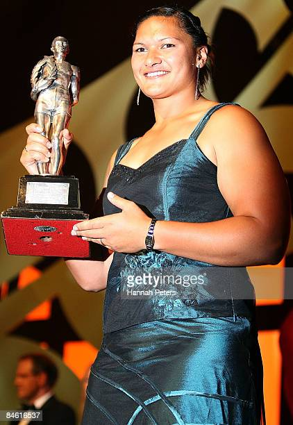 New Zealand Shot Put champion Valerie Vili holds up the Supreme Halberg Award during the Halberg Sports Awards held at the Vector Arena on February 3...