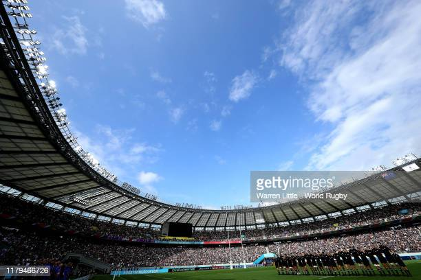 New Zealand sing their national anthem ahead of the Rugby World Cup 2019 Group B game between New Zealand and Namibia at Tokyo Stadium on October 06...