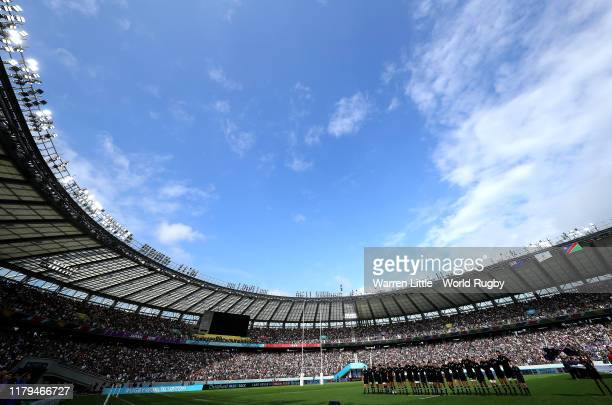 New Zealand sing their national anthem ahead of the Rugby World Cup 2019 Group B game between New Zealand and Namibia at Tokyo Stadium on October 06,...