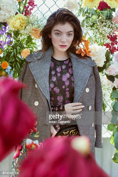 New Zealand singersongwriter and record producer Lorde is photographed for Fashion Magazine on June 20 2017 in New York City Coat jumpsuit sneakers...
