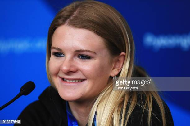 New Zealand skier Alice Robinson attends a press conference at the Main Press Centre during previews ahead of the PyeongChang 2018 Winter Olympic...