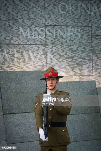 New Zealand soldier during an Anzac Day dawn service at the Australian War Memorial at Hyde Park Corner on April 25, 2017 in London, England. The...