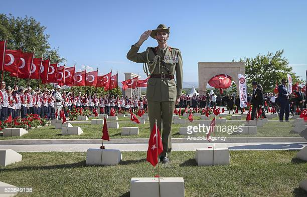 New Zealand soldier salutes during a ceremony marking the 101st anniversary of the Canakkale Battles at the 57th Infantry Regiment Memorial in...