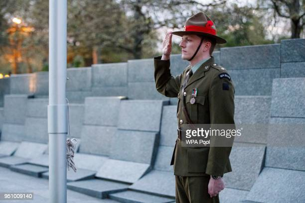 New Zealand soldier stands at the Australian War Memorial during an Anzac Day dawn service at Hyde Park Corner on April 25, 2018 in London, England....