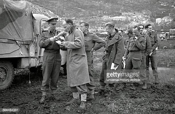 New Zealand soldiers on the Cassino Front Italy record messages to be broadcast home April 1944