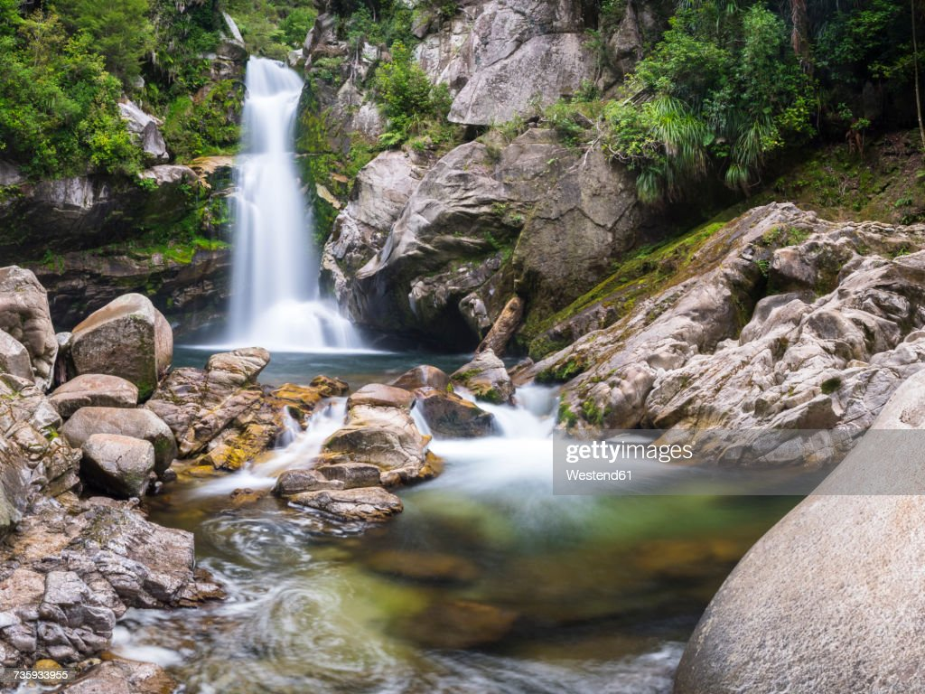 New Zealand, South Island, Abel Tasman National Park, Wainui Falls : Stock Photo