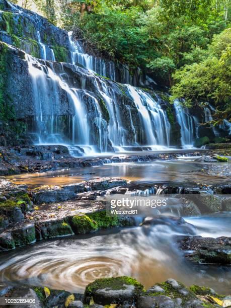 new zealand, south island, catlins, purakaunui falls - south island new zealand stock pictures, royalty-free photos & images