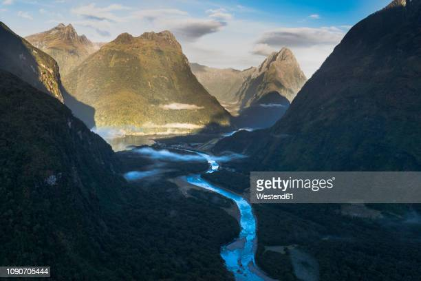 new zealand, south island, fjordland national park, aerial view of milford sound - southland new zealand stock pictures, royalty-free photos & images