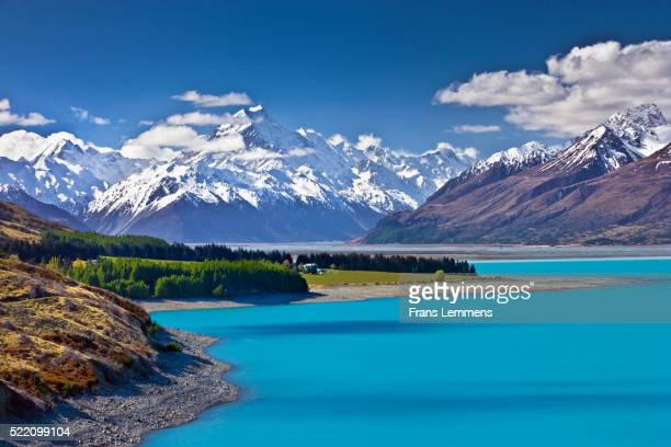 New Zealand, South Island, Lake Pukaki and in background Mount Cook National Park, Unesco World Heritage Site