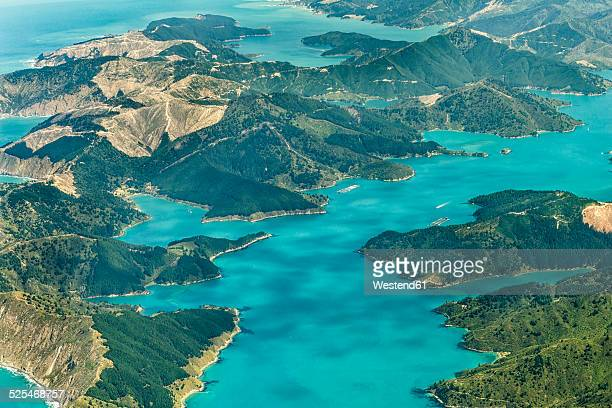 New Zealand, South Island, Marlborough Sounds, aerial photograph of the fjords near Queen Charlotte Sound