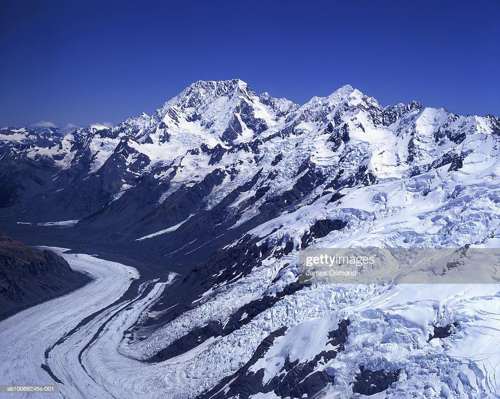 New Zealand, South Island, Mt Cook (Aoraki), Mt Tasman and Tasman Glacier, aerial view : Stockfoto