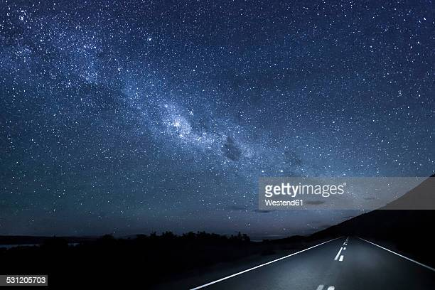 New Zealand, South Island, starry sky, milkyway at Lake Pukaki by night