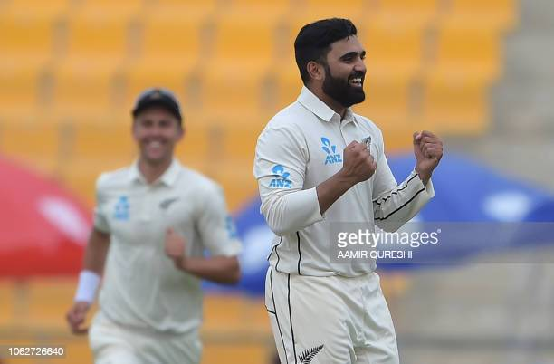 New Zealand spinner Ajaz Patel celebrates after taking the wicket of Pakistani captain Sarfraz Ahmed during the second day of the first Test cricket...