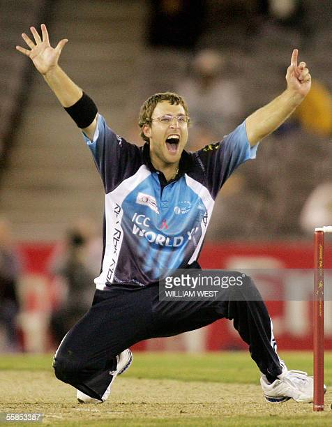 New Zealand spinner Daniel Vettori , playing for the International Cricket Council World XI team, appeals for an LBW decision against an Australian...