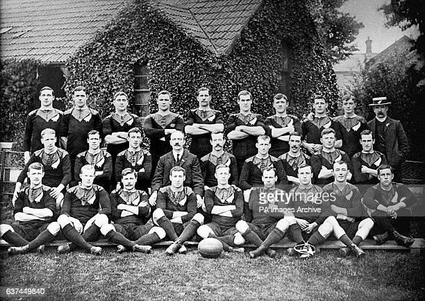 New Zealand squad for their 1905-06 tour: John Corbett, Massa Johnston, Bill Cunningham, Frederick Newton, George Nicholson, Bronco Seeling, O...