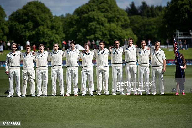 New Zealand stand for their national anthem during day two of the first cricket Test match between New Zealand and Pakistan at the Hagley Park in...