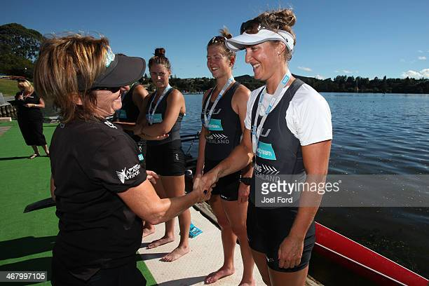 New Zealand Summer Squad women's U20 coxless pair during a medal ceremony at the North Island Club Championships at Lake Karapiro on February 9 2014...