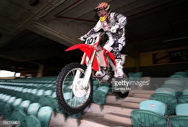 New Zealand supercross star Ben Townley rides down the stadium stairs during a media call ahead of the Monster Energy Supercross competition...