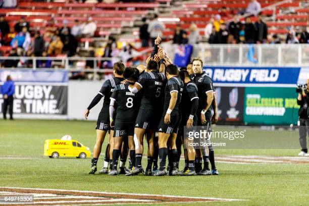 New Zealand team before the Cup Quarter Final match between England and New Zealand at the HSBC Rugby Sevens Series held in Sam Boyd Stadium on March...