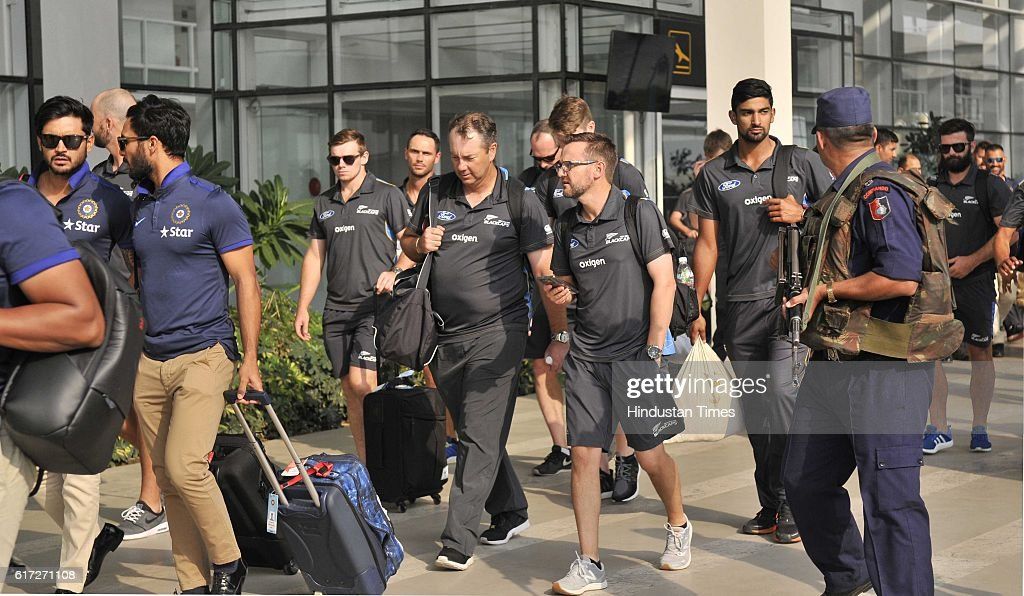 New Zealand Team players come out during the team arrival for 3rd ODI at PCA Mohali at Chandigarh Airport on October 21 in Chandigarh India