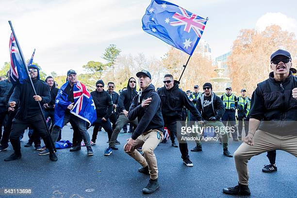 New Zealand True Blue Crew group perform the Haka in solidarity during a protest organized by the antiIslam True Blue Crew supported by the United...