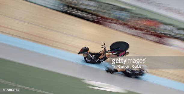 New Zealand U19 4000M team pursuits riders Mathew Zenovich and Hamish Schreurs crash during the 2012 Oceania WHK Track Cycling Championships...