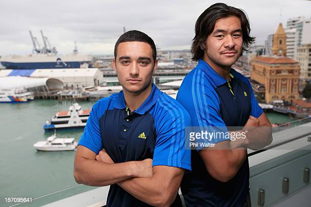 New Zealand Under 20 cocaptain Bryn Hall and U20 player Steven Luatua pose following a press conference at the Auckland Tourism Events and Economic...