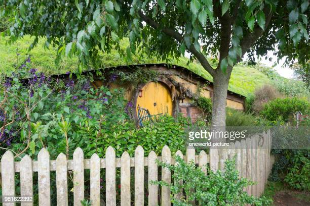 New Zealand. Waikato. Matamata. Home in Hobbiton. Hobbiton. Movie set.