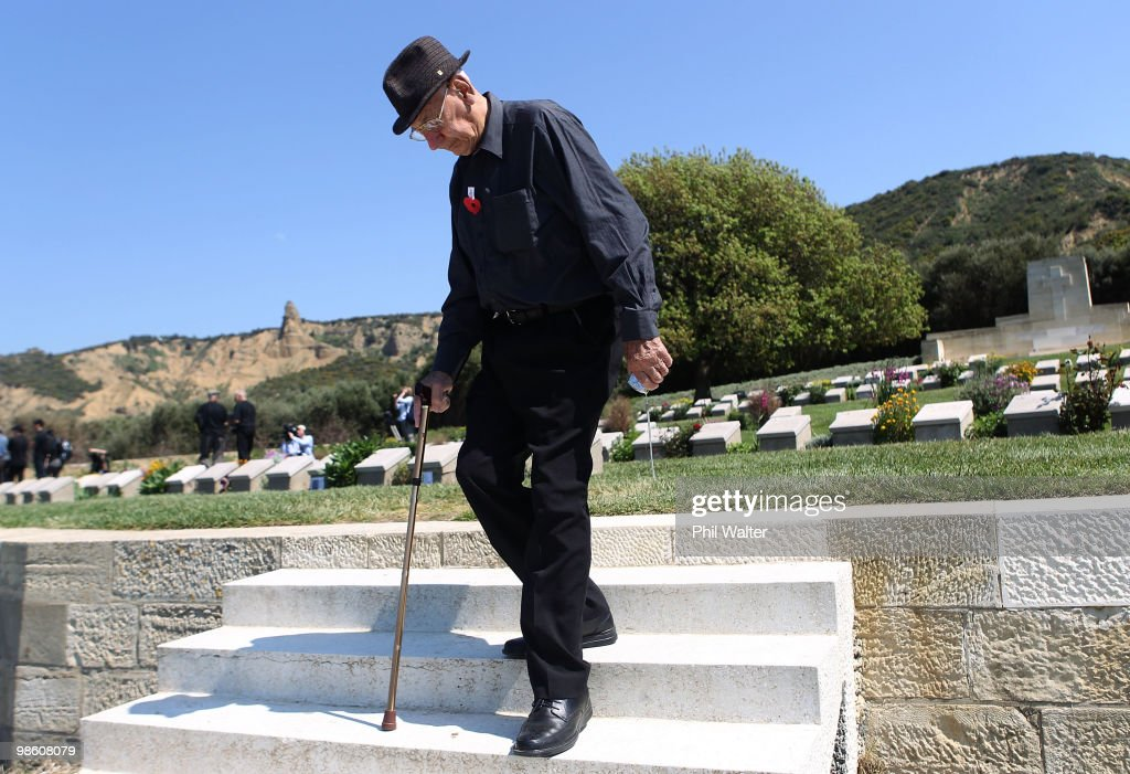 New Zealand war veteran Morris Johnstone walks amongst the graves in the war cemetary at ANZAC Cove for soldiers killed in the First World War on April 22, 2010 in Gallipoli, Turkey. April 25 will commemorate the 95th anniversary of ANZAC (Australia New Zealand Army Corps) Day, when First World War troops landed on the Gallipoli Peninsula, Turkey early April 25, 1915. Today April 25 is commemorated with ceremonies of remembrance for those who fought and died in all wars.