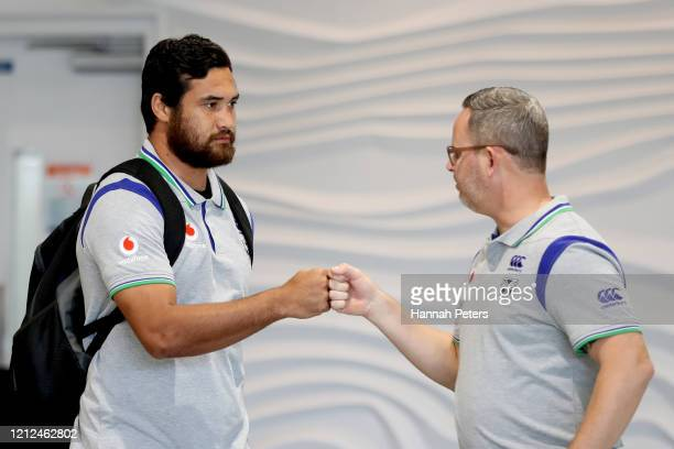 New Zealand Warriors player Pita Hiku arrives back to New Zealand ahead of a New Zealand Warriors NRL Press Conference at Auckland International...
