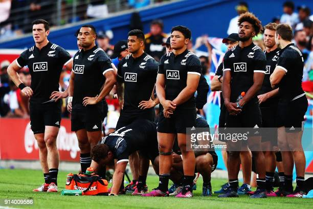 New Zealand watch the Cup final match between Fiji and South Africa during the 2018 New Zealand Sevens at FMG Stadium on February 4 2018 in Hamilton...