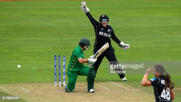 New Zealand wicketkeeper Rachel Priest celebrates as Pakistan batsman Nahida Khan is bowled by Amelia Kerr during the ICC Women's World Cup 2017...