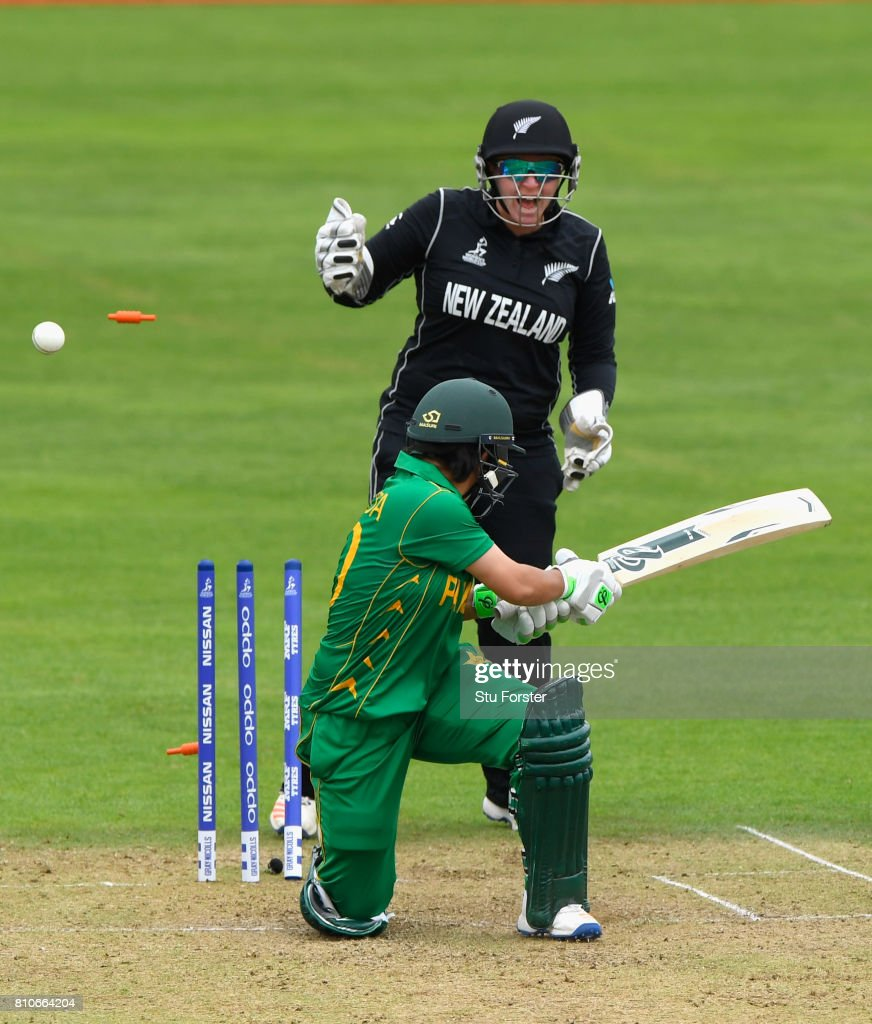 New Zealand wicketkeeper Rachel Priest celebrates as Pakistan batsman Nahida Khan is bowled by Amelia Kerr during the ICC Women's World Cup 2017 match between New Zealand and Pakistan at The Cooper Associates County Ground on July 8, 2017 in Taunton, England.