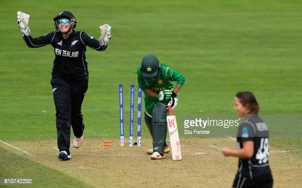 New Zealand wicketkeeper Rachel Priest celebrates as Pakistan batsman Sidra Nawaz is bowled by Amelia Kerr during the ICC Women's World Cup 2017...