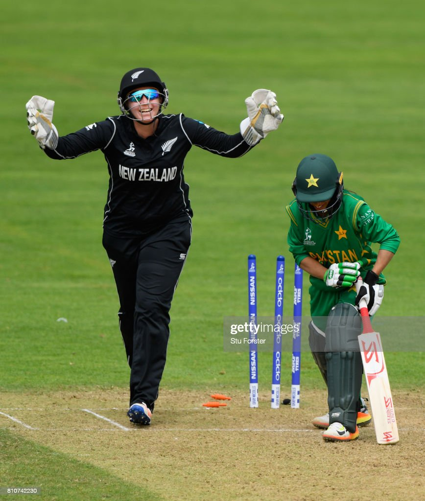 New Zealand wicketkeeper Rachel Priest celebrates as Pakistan batsman Sidra Nawaz is bowled by Amelia Kerr during the ICC Women's World Cup 2017 match between New Zealand and Pakistan at The Cooper Associates County Ground on July 8, 2017 in Taunton, England.