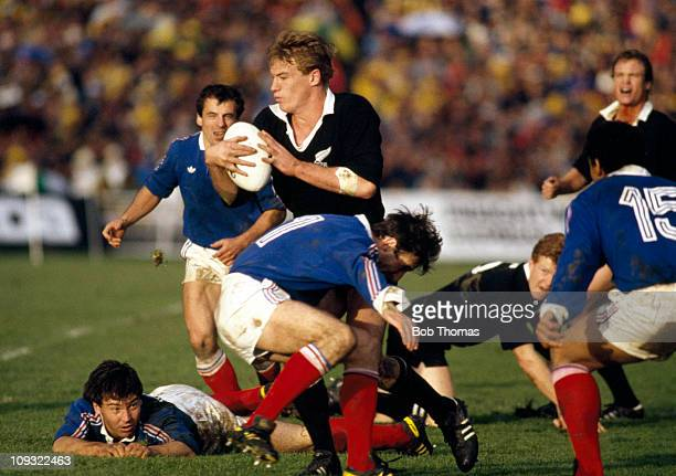 New Zealand wing John Kirwan is blocked by Patrice Lagisquet of France during the Rugby Union World Cup Final held in Auckland on 20th June 1987. New...