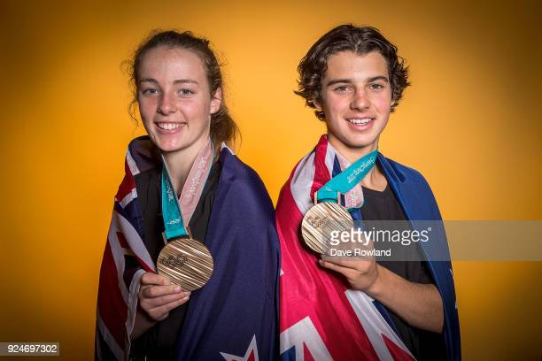 New Zealand Winter Olympic Games bronze medal winner Zoi SadowskiSynnott and Nico Porteous at a portrait session after being welcomed home at...