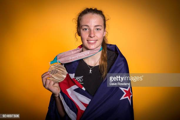 New Zealand Winter Olympic Games bronze medal winner Zoi SadowskiSynnott at a portrait session after being welcomed home at Auckland International...