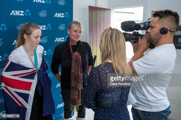 New Zealand Winter Olympic Games bronze medal winner Zoi SadowskiSynnott is interviewed with her mother by media after being welcomed home at...