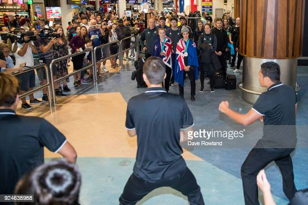 New Zealand Winter Olympic Games bronze medal winners Zoi SadowskiSynnott Nico Porteous are welcomed home at Auckland International Airport on...