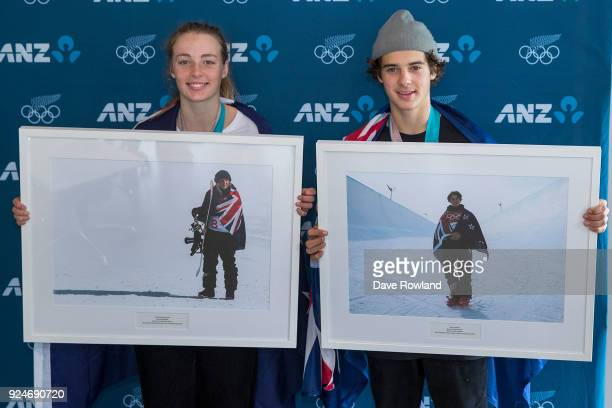 New Zealand Winter Olympic Games bronze medal winners Zoi SadowskiSynnott Nico Porteous are presented with framed photographs after being welcomed...