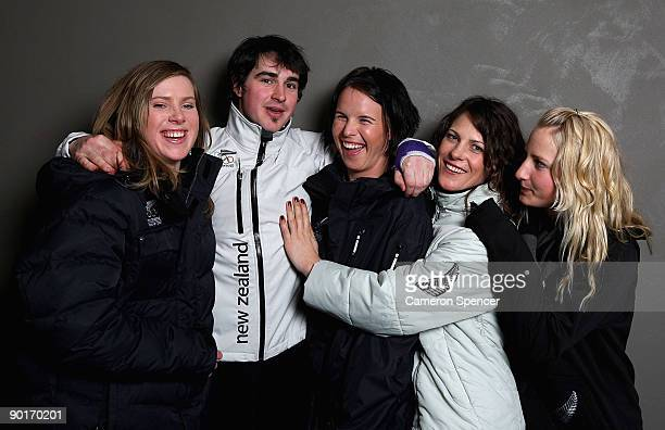 New Zealand Winter Olympic hopefuls Mitchey Greig Tim Cafe Paula Mitchell Juliane Bray and Rebecca Sinclair pose during the New Zealand Olympic...