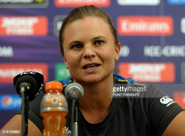 New Zealand women cricket team captain Suzie Bates speaks during a news conference at the Wankhede Cricket Stadium in Mumbai on March 30 2016 New...