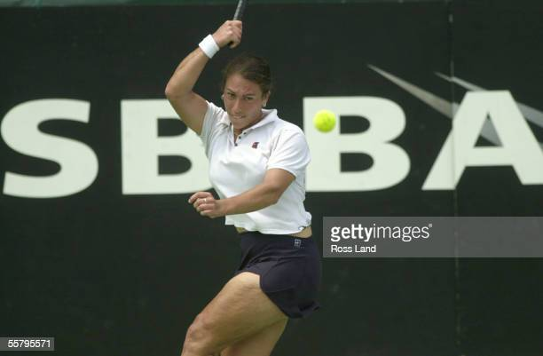 New Zealand womens No1 Shelley Stephens returns a shot from Leanne Baker, during the tennis shootout at the Stanley St Tennis Centre, Thursday. Baker...