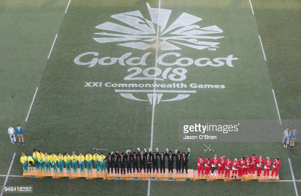 New Zealand Womens team celebrate winning the Gold Medal during Rugby Sevens on day 11 of the Gold Coast 2018 Commonwealth Games at Robina Stadium on...