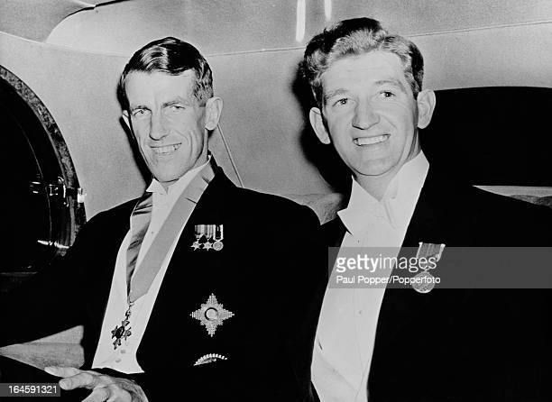 New Zealandborn mountaineers Edmund Hillary and George Lowe leaving the Travellers' Club in Pall Mall London on their way to a reception in Hillary's...